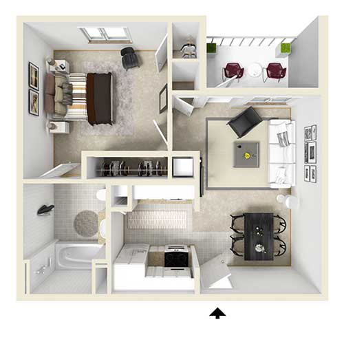 Floor plan view of an apartment. From top left to lower right: bedroom, closet area, living room, dining room, kitchen, and bathroom. Unit also has a balcony that is accessed through the living room.