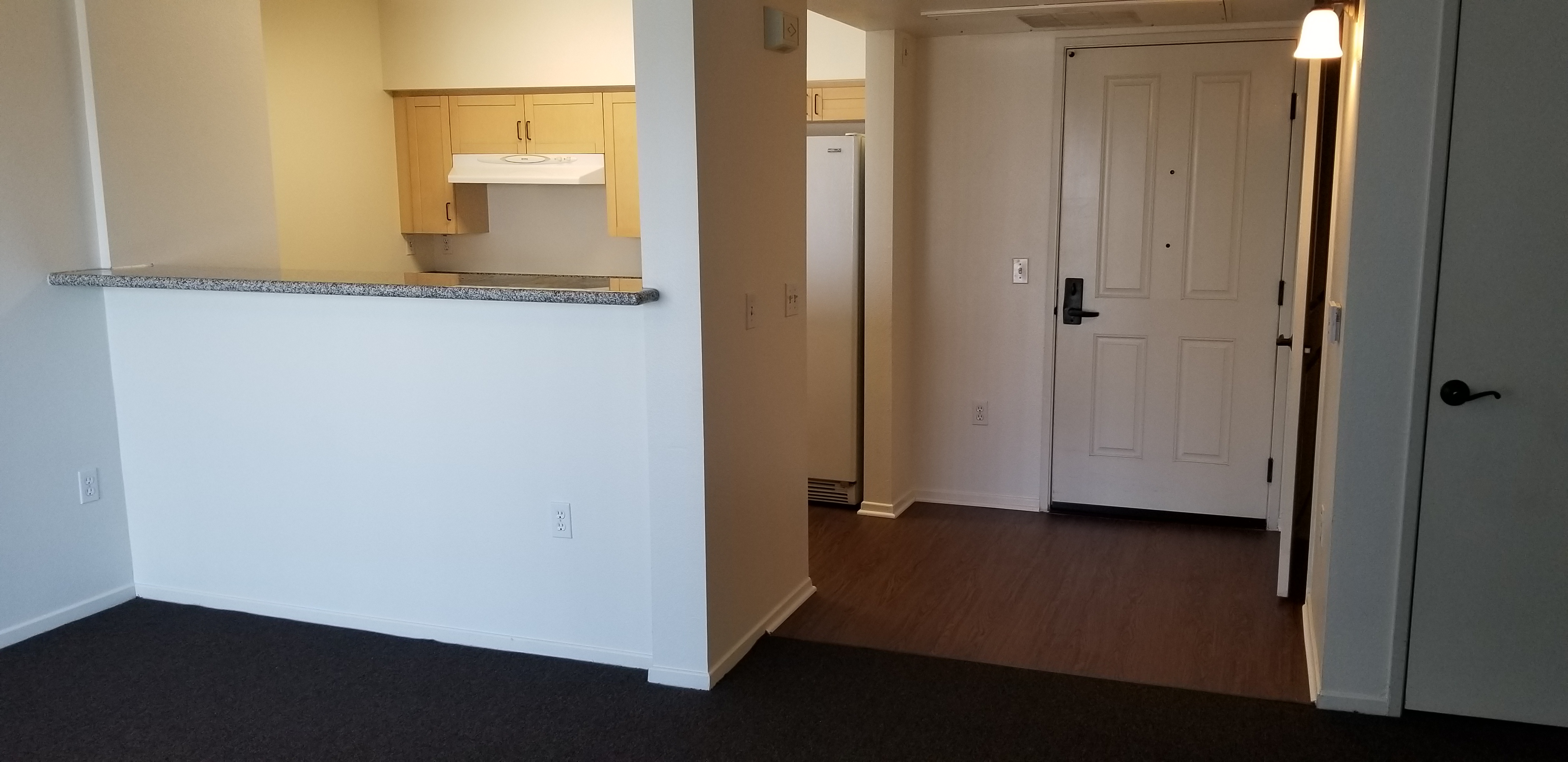 inside view of Morgan Place unit. Kitchen located to unit main entrance. Kitchen has a fridge. Kitchen has an open concept layout. Dark grey carpets in living room