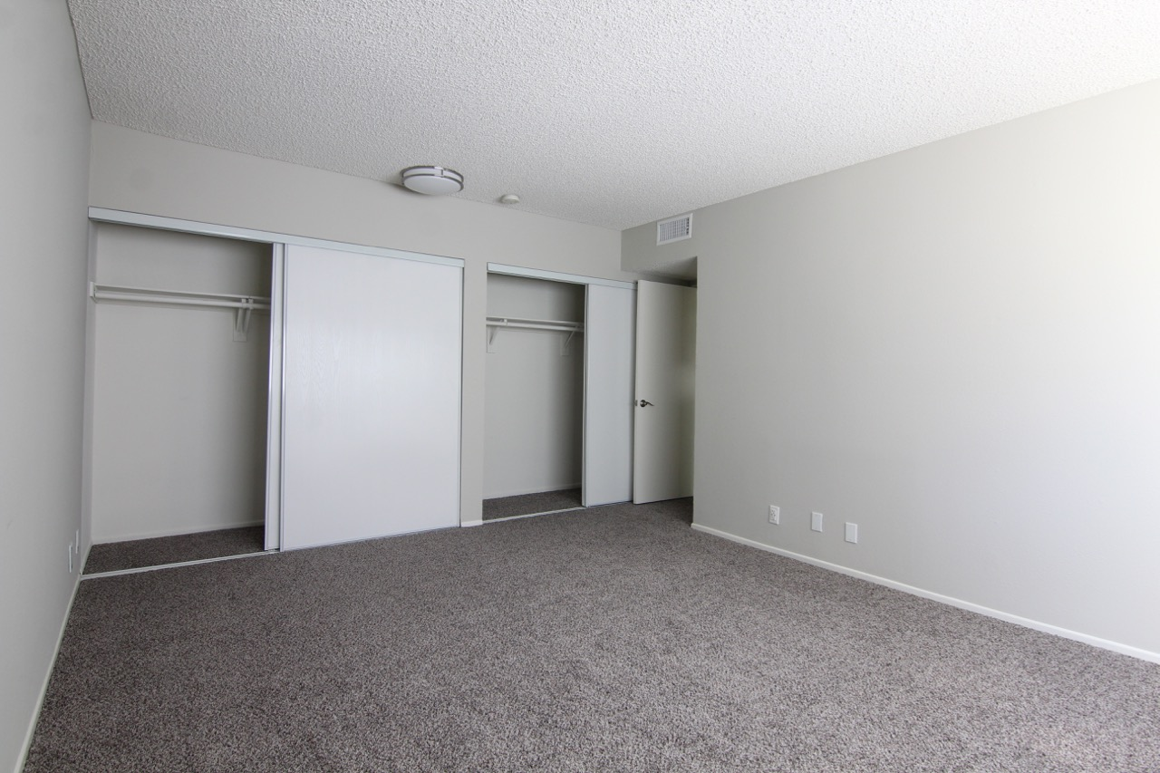 Different angle of a bedroomn with two closets. Floor is carpeted.