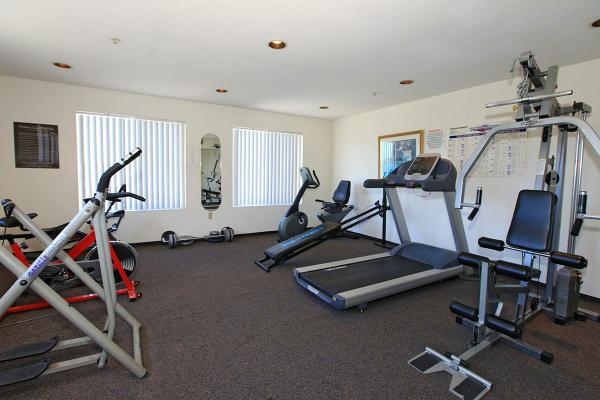 View of a fitness room-gym, two windows with white vertical blinds, a mirror, picture frames, signs posted on the wall, multiple exercise equipment.