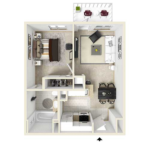 Floor plan view of an apartment. From top left to lower right: bedroom, living room, dining room, kitchen, and bathroom. Unit also has a balcony that is accessed through the living room.
