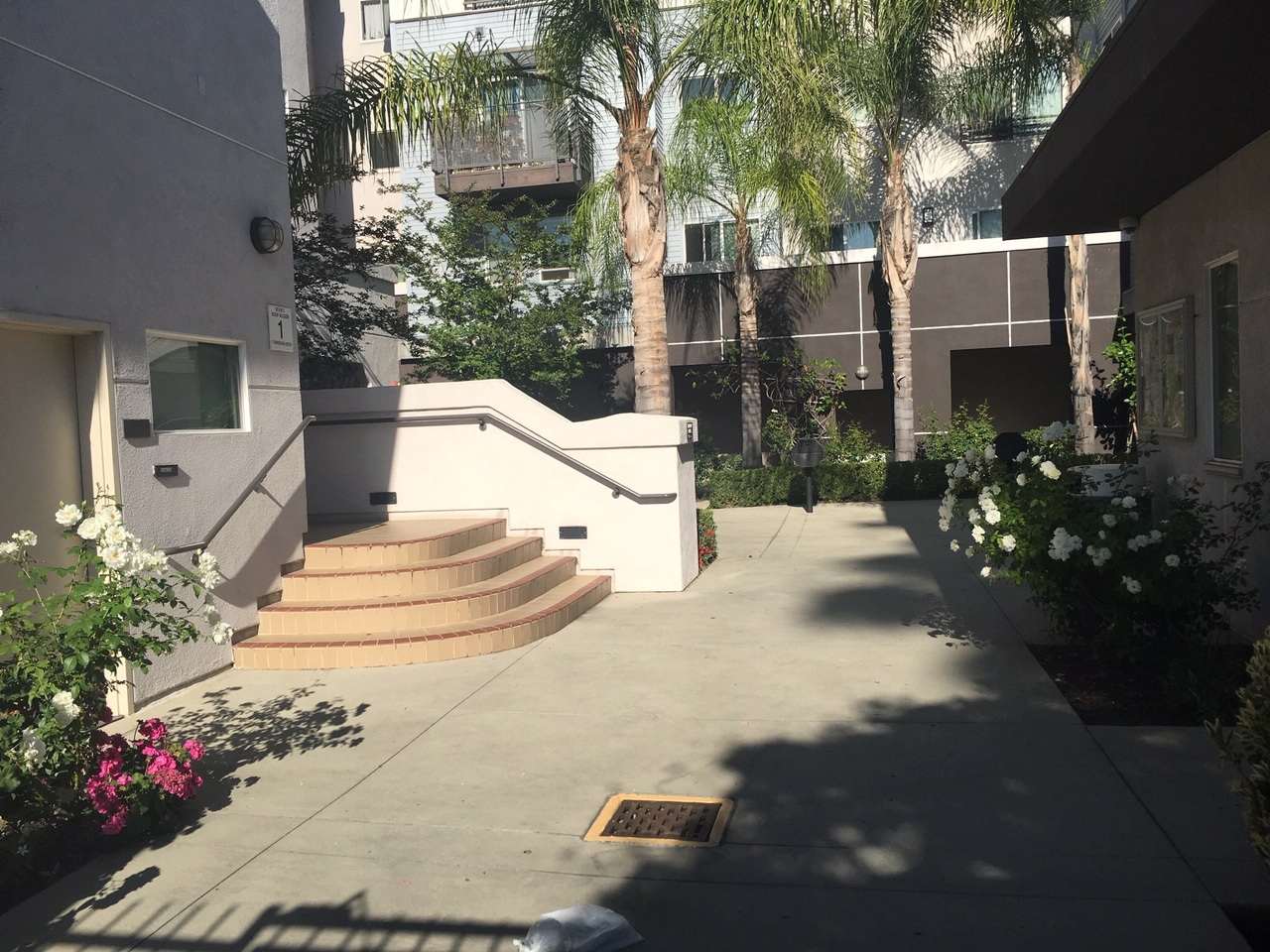 View of a well maintained courtyard, four steps up with handrails on each side.