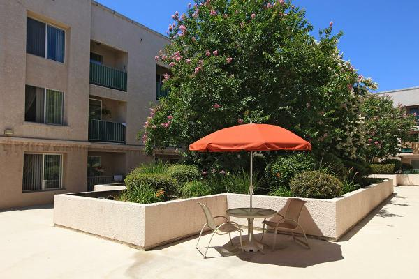 View of a courtyard, a small round table with two chairs and an orange umbrella, bushes and trees behind the table.
