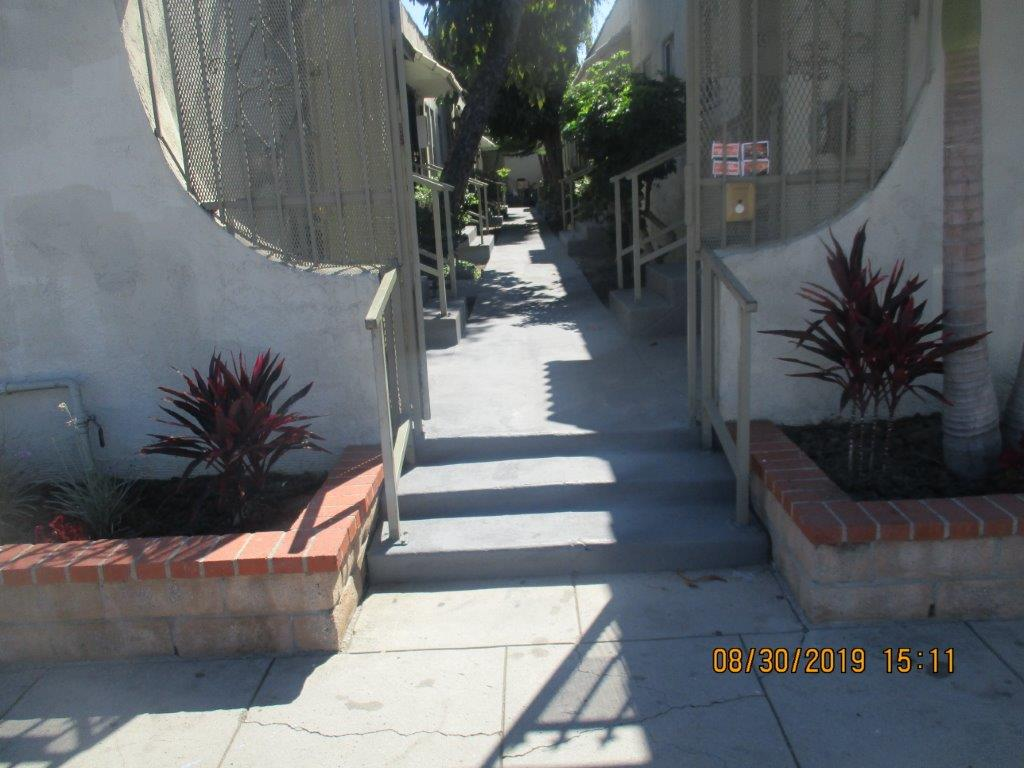 Image of pathway between units in the property