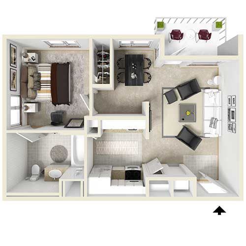 Floor plan view of an apartment. From top left to lower right: bedroom, dining room, living room, kitchen, and bathroom. Unit also has a balcony that is accessed through the living room.